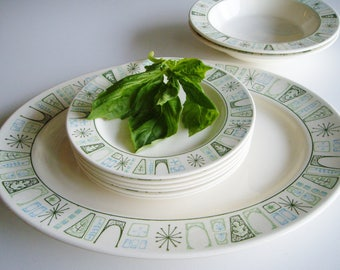 Vintage, Mid Century Dishes, Cathay, Taylorstone, Taylor-Smith & Taylor, Side Plates, Bowls, Platter, Atomic, Turquoise and Green