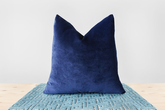 Dark Blue Velvet Pillow Cover Navy Velvet Throw Pillows
