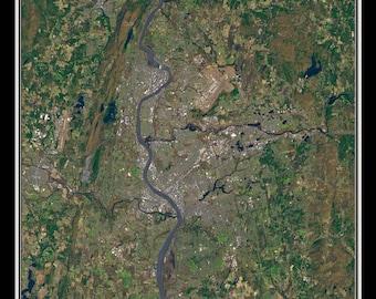 Springfield Massachusetts Satellite Poster Map