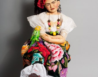 FRIDA KAHLO Doll- Award- winning One-of-a-Kind Artist Doll by Lynn Cartwright - 36 1/2""