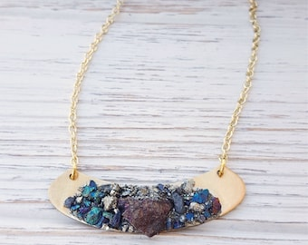 Druzy Bib Necklace Pyrite Necklace Raw Pyrite Blue Druzy Metallic Necklace Pyrite Jewelry Peacock Jewelry Peacock Wedding Raw Stone Necklace