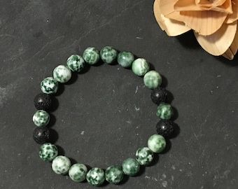 Green Jade Diffuser Bracelet, Aromatherapy, Gifts for Her, Gemstone Jewelry, Stretch Bracelet, Essential Oils