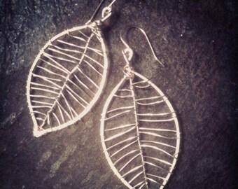 Leaf Earrings in Sterling Silver