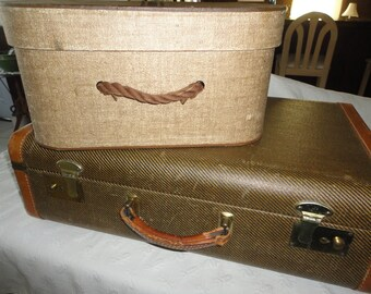 Vintage Tweed Suitcase Leather Trimmed Hat Wig Travel Box