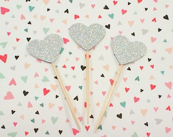 12 Silver Glitter Heart Cupcake Toppers, Heart Toppers, Silver Glitter Hearts, Wedding Cupcake Toppers, Wedding Decor, Party Decor, Sparkly