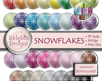 "Snowflakes Digital Elements Pack ~ ""SNOWFLAKES"" ~ 31 Flairs ~  Christmas digital brads ~ PU and CU Scrapbooking  ~ Rainbow ~ Design #104"