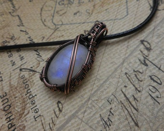 Rainbow Moonstone Copper Wire Wrapped Necklace - Moonstone Pendant Handmade - Gifts for Her