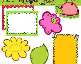 KPM Bug notes and Frames Digital Clip Art