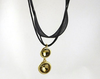 Black Ribbon Necklace with Gold Crystal Pendant