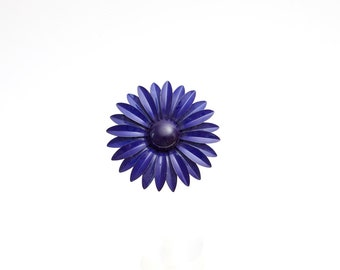 Vintage 1960's Enamel Brooch Blue Flower