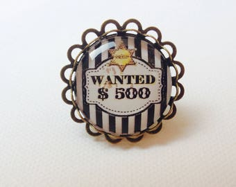 """Ring retro humor Sheriff """"wanted"""" glass cabochon 25 mm, black and white"""