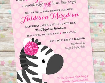 Zebra Baby Shower, Girl Baby Shower, Zebra Invite, Invitation with Zebra, Girly Safari Baby Shower, Pink and Black, DIY Printable Invite