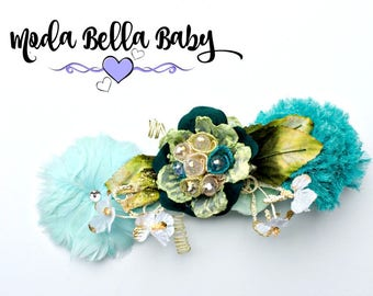 Green Baby Headband, Newborn Headband, Christening Headband, Girls Headband, Flower Girl Headband, Photo Prop