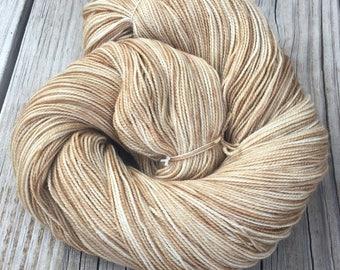 hand dyed sock weight yarn Sandy Beach Shawl Length Super Skein Superwash Merino Cashmere Nylon MCN 600 yards fingering weight tan brown