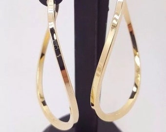 9 ct gold yellow gold curved dangle earrings