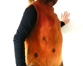 Nuno Felted Tunic Blouse, Asymmetrical Top, Sleeveless, Turtleneck, A line, Brown Copper, Small Size