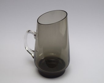 Midcentury PITCHER, Smoked Glass, Serving Item, Scandinavian or W.-Germany, Vintage Glass