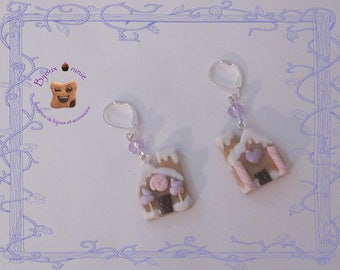Pink polymer clay gingerbread house cookie earrings
