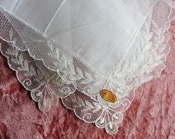 BEAUTIFUL Vintage Swiss Lace Hankie BRIDAL WEDDING Handkerchief Lovely Bridal Hanky Fancy Tambour Lace Collectible Hankies,Bridal Hankies