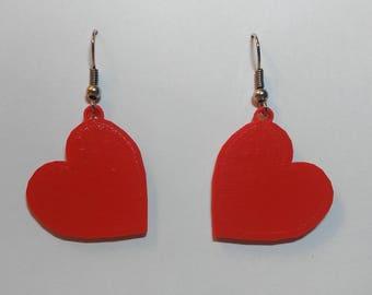 Heart Earrings - Lightweight 3D printed, glow in the dark