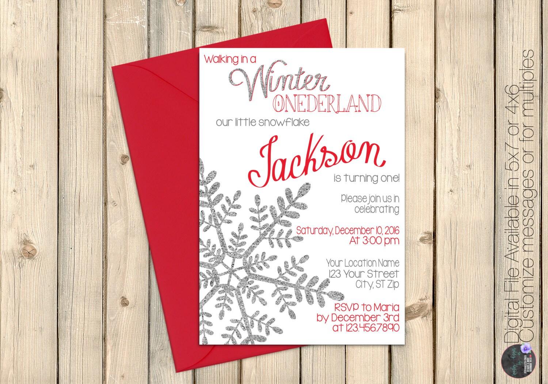 Winter Wonderland First 1st Birthday Invitation Onederland