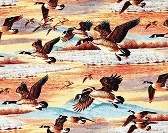 Duck Duck Goose  Flying  Geese  Nature Wilmington Fabrics By the Yard