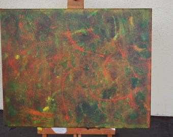"Acrylic Painting ""Sideral"" 20X16 Inches One Of A kind Hand Made in USA Green Orange Red Yellow Abstract Modern Art"