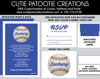 Bar Mitzvah Invitations, Bar Mitzvah Invitation, Baseball Theme, Envelope Addressing, Reply Card, Save the Date, Thank You Notes