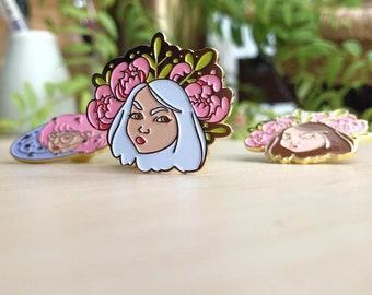 Plant Girl Pin - White