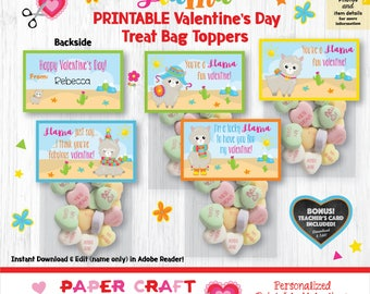 Llama Valentine Treat Bag Toppers | Printable Classroom Valentines | Classroom Exchange Cards | By Paper Craft Valentines
