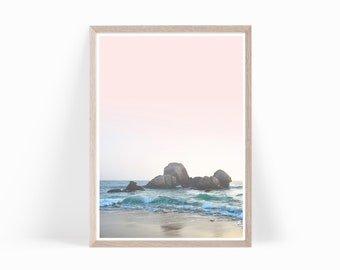 Ocean Photography Wall Art Printable, Ocean Photo Print Digital Download, Beach Photography, Ocean Beach Photography Pink Pastel Art, o3c2c2