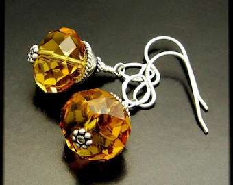 HARD CANDY ~ Whiskey Quartz, Hill Tribe Sterling Silver Earrings