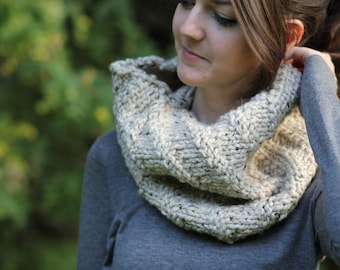 Oatmeal Slouchy Diagonal Knitted Cowl Scarf [ The Territory Cowl ] - Made in Canada by Wool and Warmth
