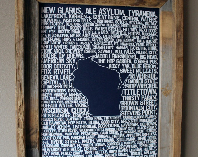 Beers of Wisconsin Word Map (Dark Blue) - Unframed