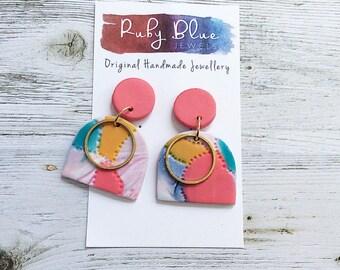 Long dangle earrings, Polymer clay dangle earrings, Statement Earrings, Multi Colour dangle earrings, handmade earrings by Rubybluejewels