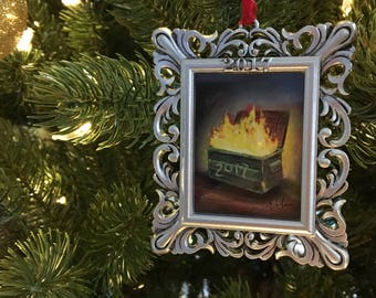 Dumpster Fire 2017 Christmas Ornament Holiday Gift This Year Is Terrible New Year's Eve party decor