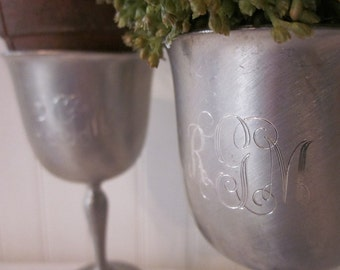 2 vintage monogrammed Pewter Goblets plus Bowl. RGM 5-29-77. Upcycled Candle Holders. Rustic Shabby Cottage charm. Eclectic decor