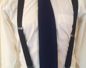1970s Necktie - Wide Disco Necktie - Dark Blue Tie - Polyester Tie - Hipster - Mod