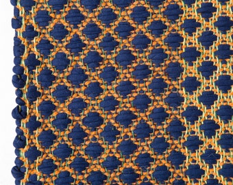 Dark blue, handmade, living room, rag rug, floor runner, cotton rag rug, scandinavian rug