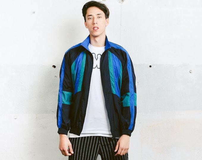 Men Vintage 90s Windbreaker . Vintage Shell Jacket Spring Jacket Men's Shellsuit Sports Jacket Hiking Jacket 90s Men Clothing . size Large L