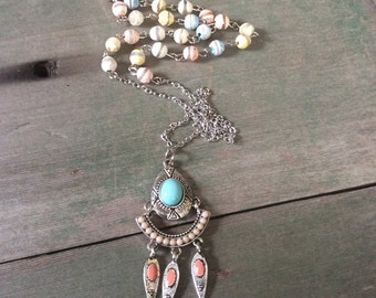 Pastel Summer Necklace/Long Necklace/Southwestern/Tribal