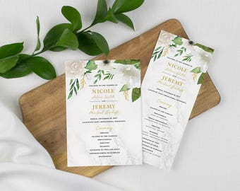 classic white floral wedding program, marble wedding programs, elegant wedding program, wedding ceremony program, printed wedding program