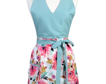 Sexy Halter Retro Apron - Teal Pink Floral Apron - Womens Cute V-Neck Over The Head Kitchen Apron with Pocket - Monogram Option