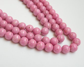 Riverstone beads in pink round gemstone 8mm full strand 9445GS
