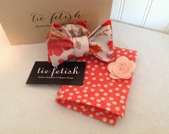 coral, pink, black, brown and grey linenbow tie box set / pocket square box