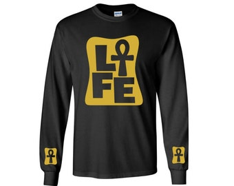 African Clothing // Ankh Clothing // Afrocentric Shirt {LONG SLEEVE} Kemetic Clothing // Conscious Clothing // Egyptian AnkhLife