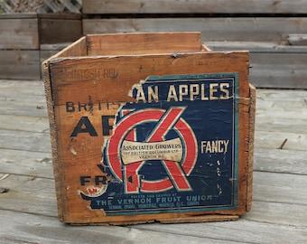 Vintage Fruit Crate - Antique fruit box - vintage apple crate - fruit crate with paper label  -  wood fruit crate - Wood Crate Storage