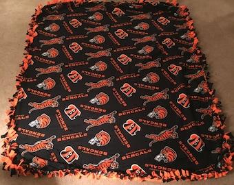 Handmade Cincinnati Bengal Tie Blanket