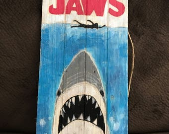 "Jaws shark movie Wooden Sign - home decor-  18.9"" x 9.6"" x 0.3"""