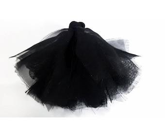 Pom poms hand sewn black veil